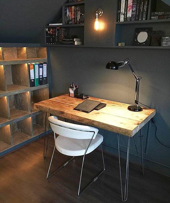 Industrial Chic Reclaimed Custom Hairpin Leg Office Desk 014