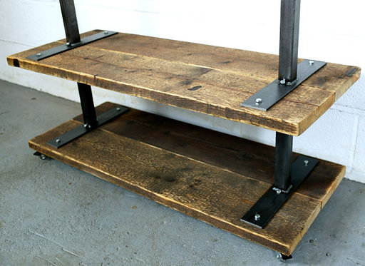 Reclaimed Industrial Chic Steel Clothes Hanging Rail Shelf Shop Fittings 251