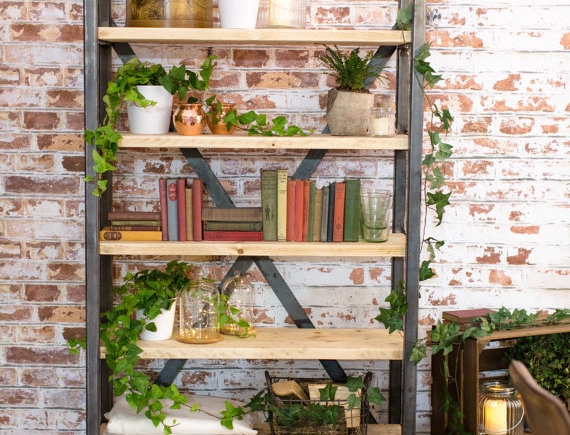 Industrial Chic Reclaimed Custom Steel & Wood Bookcase Shelving Unit 404