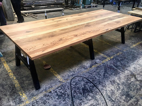 Modern Industrial Full Stave Solid Oak A Frame Conference Dining Table 056