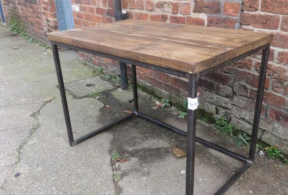 Reclaimed Industrial Chic Cube Wood & Metal Desk 301