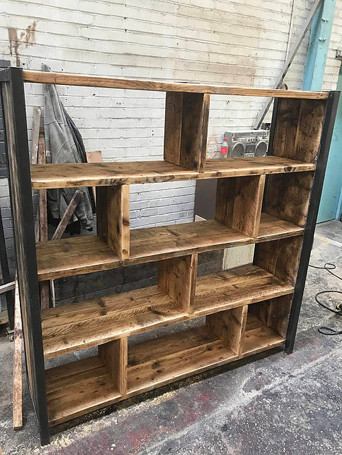 Industrial Chic Reclaimed Custom Steel & Wood Bookcase Shelving Unit 521