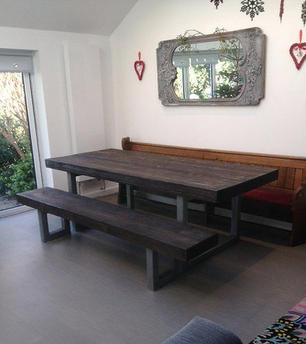 Reclaimed Industrial Chic 10-12 Seater Solid Wood Metal Table & Bench HCB 309