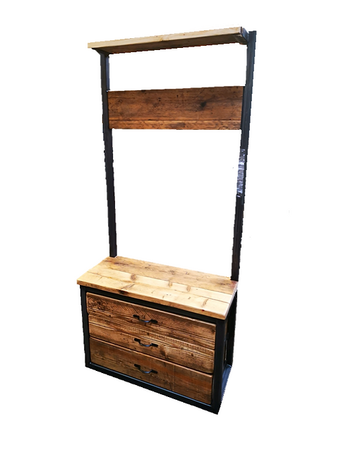 Reclaimed Industrial Chic Steel Hall Stand with 3 Drawers - 647