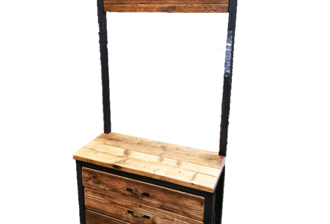 Reclaimed Industrial Chic Steel Hall Stand with 3 drawers-647