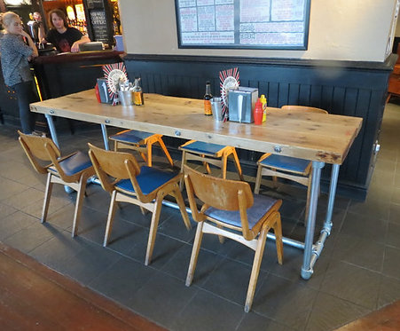 Reclaimed Industrial Chic Pipe 6-8 Seater Conference Office Table 047