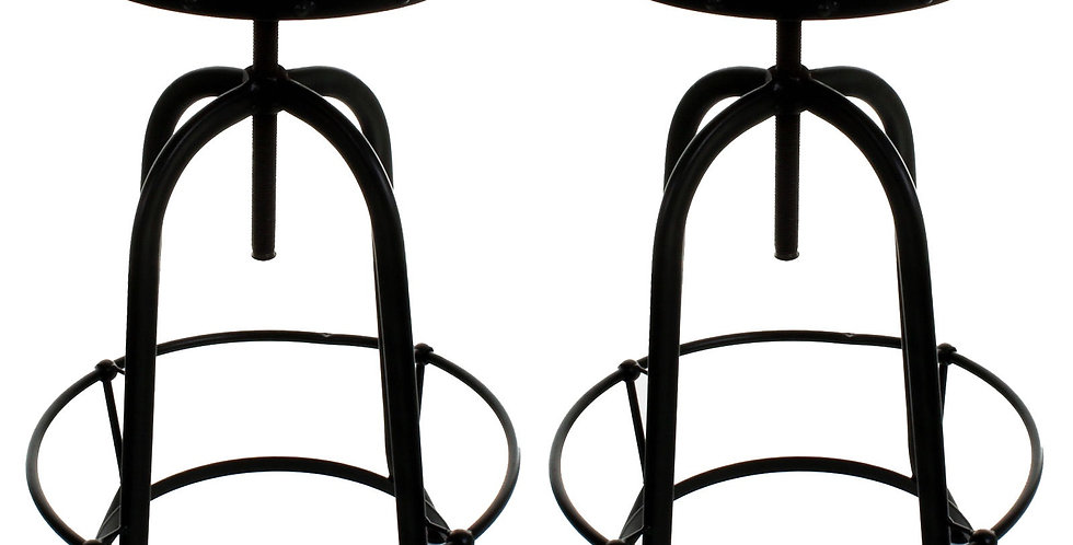 Industrial Chic Round Metal Breakfast Bar Stool. Adjustable height
