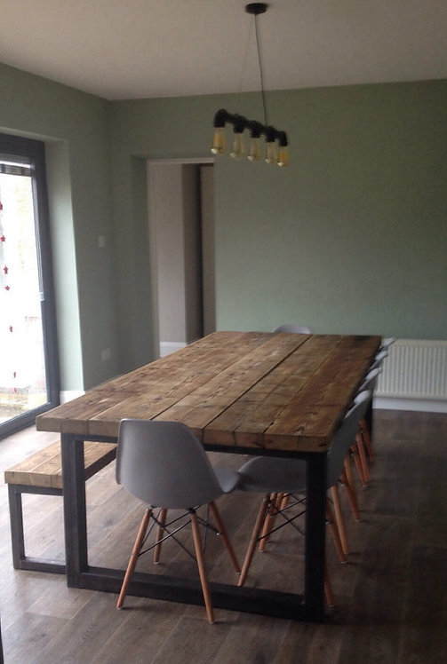 Reclaimed Industrial Chic 10-12 Seater Solid Wood & Metal Dining Table 473