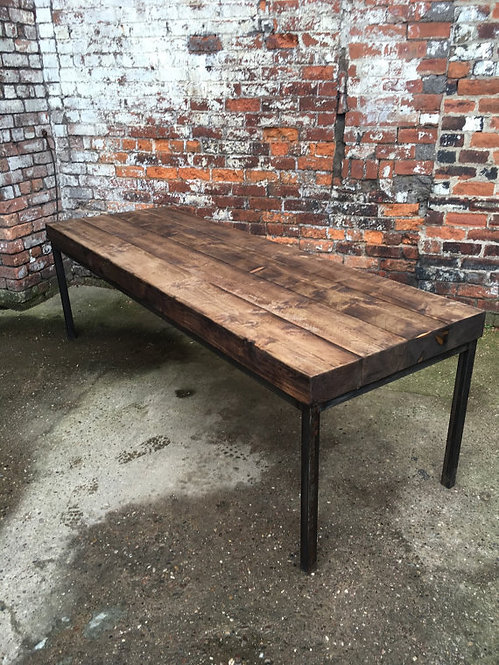 Industrial Chic Sleeper 10-12 Seater Solid Wood & Metal Straight Leg Table 343