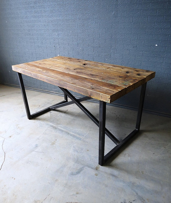 Reclaimed Industrial Chic X Style 6-8 Seater Solid Wood & Metal Dining Table 308