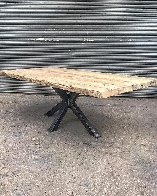 Industrial Chic Reclaimed Custom Centre Pedestal Table Steel & Wood 533