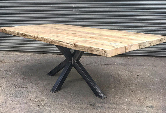 Industrial Chic Reclaimed Custom Centre Pedestal Table Steel & Wood 533