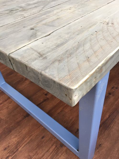 e02797bc905f Reclaimed Industrial Chic 10-12 Seater Solid Wood & Metal Dining Table 434