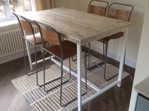 Reclaimed Industrial 4 Seater Chic Tall Poseur Dining Table Desk 421