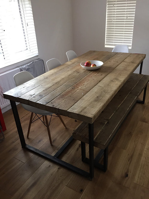 Reclaimed Industrial Chic 6-8 Seater Solid Wood & Metal Dining Table 039
