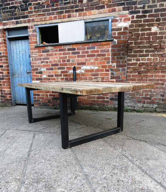 319af39109db Reclaimed Industrial Chic 10-12 Seater Solid Wood & Metal Dining Table 473