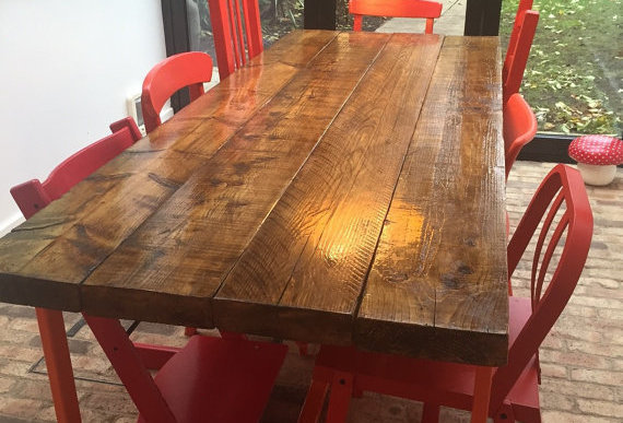Reclaimed Industrial Chic 6-8 Seater Solid Wood Orange Metal Frame Table CB 320
