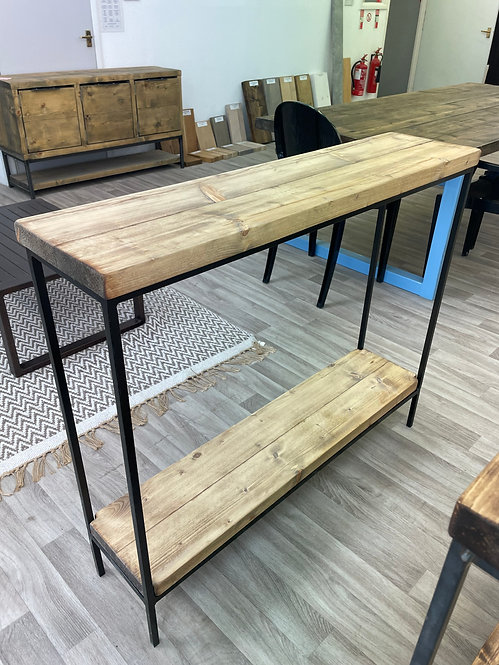 ***IN STOCK*** RECLAIMED CONSOLE TABLE IN OIL WITH SHELF POWDER COATED FRAME