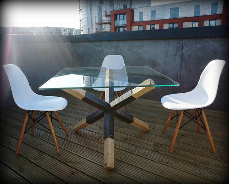 Modern Industrial Chic Glass Top 'Mine' Dining Table Grey 130