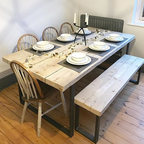 Reclaimed Industrial Chic 6-8 Seater Solid Wood Steel Metal Dining Table HCB 612