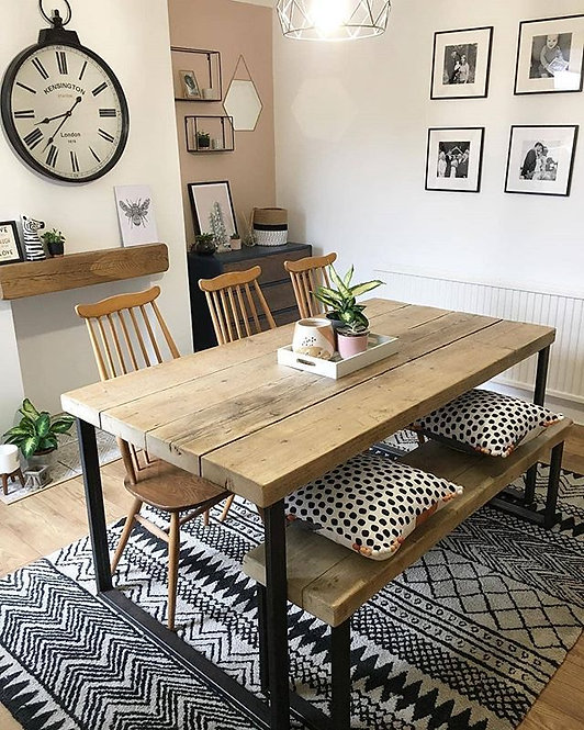 Reclaimed Industrial Chic 6-8 Seater Solid Wood Steel Metal Dining Table HCB 640