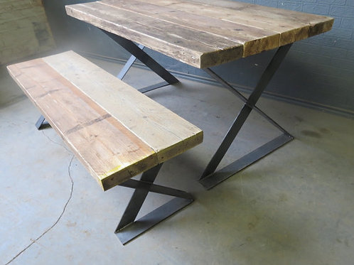Reclaimed Industrial Chic Z End 6-8 Seater Solid Wood & Metal Dining Table 260