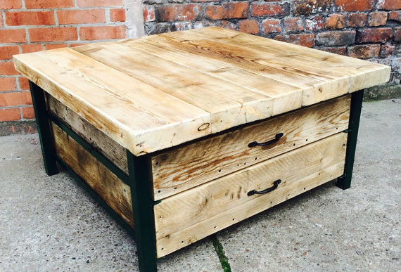 Industrial Chic Style Reclaimed Custom Coffee Table TV Unit 279