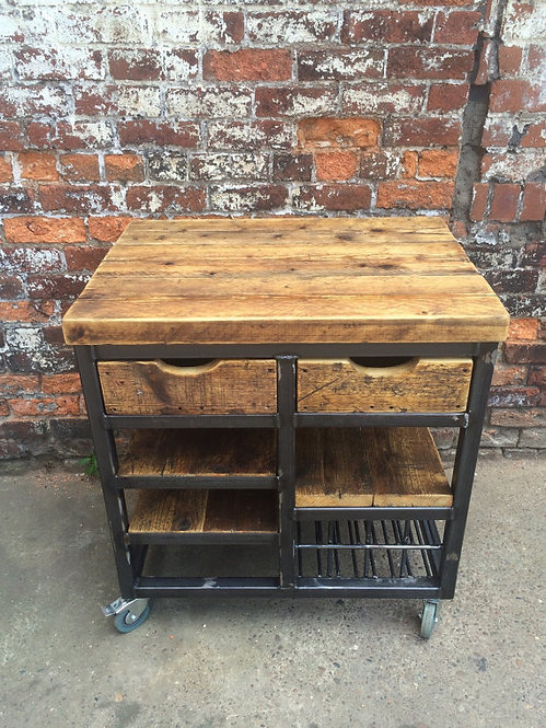 Reclaimed Industrial Steel Kitchen Island Unit with Drawers & Shelving 030
