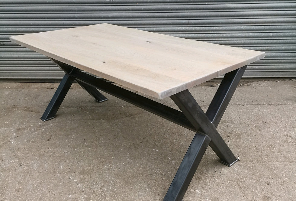 Solid Full Stave Oak Industrial Double X 6-8 Seater Steel Dining Table - 635