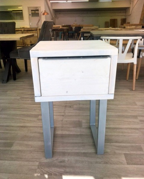 ***IN STOCK*** RECLAIMED SIDE TABLE WITH DRAWER IN WHITEWASH CHROME