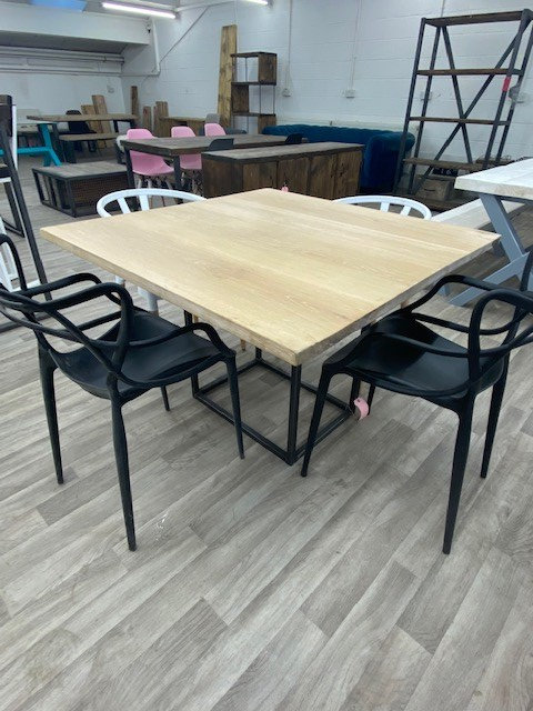 ***IN STOCK*** SQUARE PEDESTAL FULL STAVE OAK TABLE IN WAX