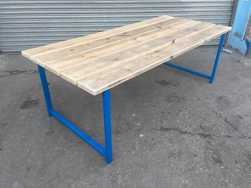 Reclaimed Industrial Chic Custom Indoor Outdoor Garden Picnic Table Blue 508
