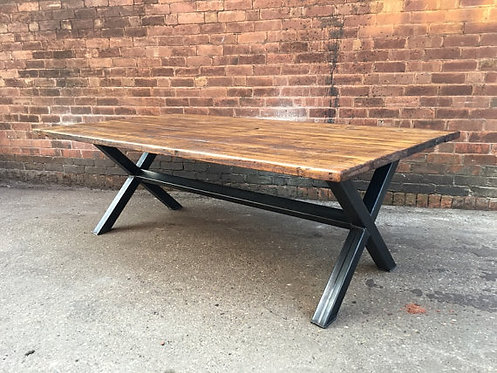 Reclaimed Industrial Chic XX 10-12 Seater Solid Wood Metal Dining Table 416