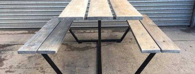 Reclaimed Industrial Chic Custom Outdoor Garden Picnic Table & Bench Set 507