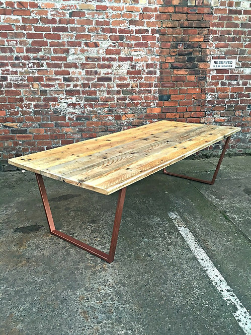 Reclaimed Industrial Chic 8-10 Seater Solid Wood Copper Metal Frame Table 089