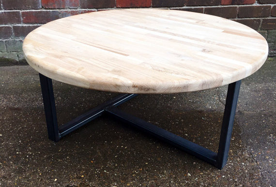 Industrial Chic Solid Oak Round Custom Coffee Table TV Stand 182