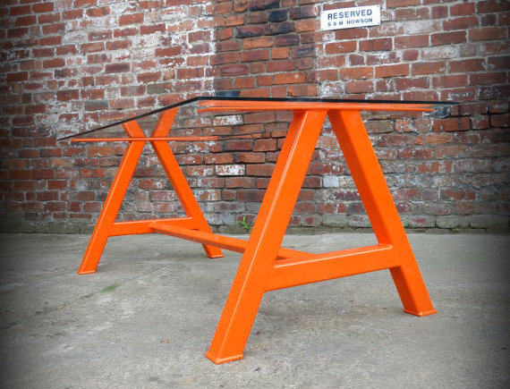 Modern Industrial Chic Glass 'A' Frame Dining Table Orange Hand Made Steel 350