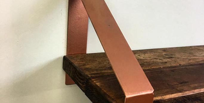 Reclaimed Industrial Chic Steel Copper Shelf Bracket & Shelf Made to Measure 527
