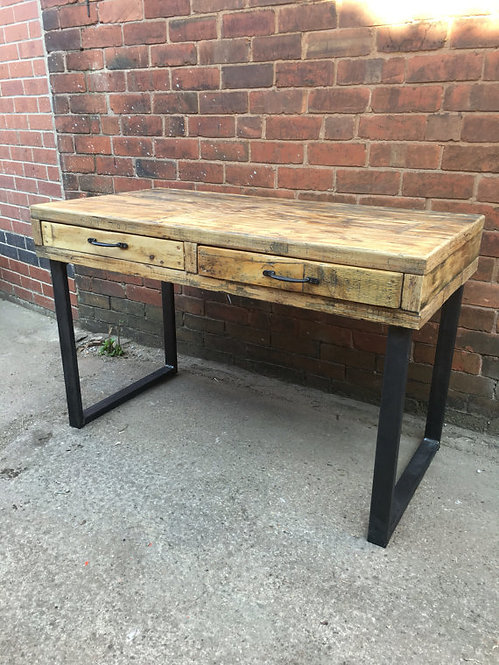 Industrial Chic Reclaimed Custom Office Desk with 2 Drawers 272
