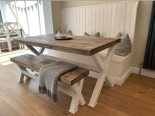 Reclaimed Industrial Chic XX 6-8 Seater Wood & Steel Dining Table in White - 645