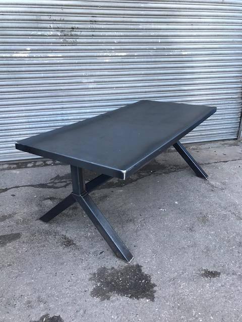 Reclaimed Industrial Chic Y-Frame 6-8 Seater Solid Steel Top & Metal Table 567