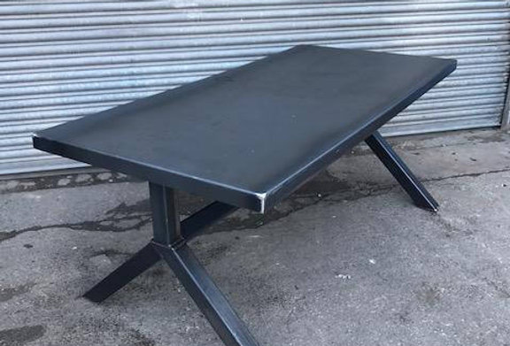 Reclaimed Industrial Chic Y-Frame 6-8 Seater Solid Steel Top & Metal Table 567
