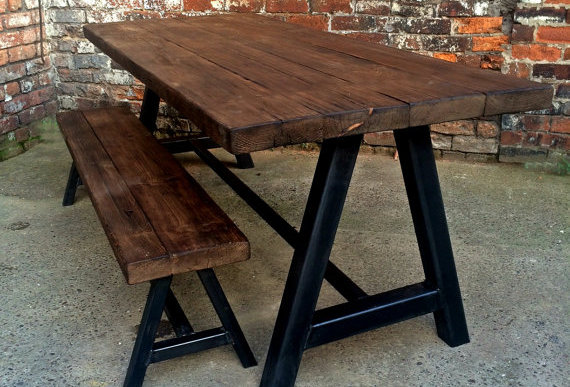 Reclaimed Industrial Chic A Frame 6-8 Seater Wood Metal Dining Table & Bench 106