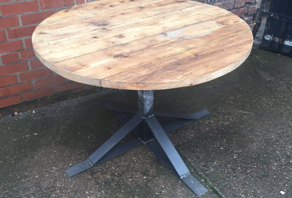 Industrial Chic Reclaimed Custom Round Cafe Restaurant Table Metal & Wood 043