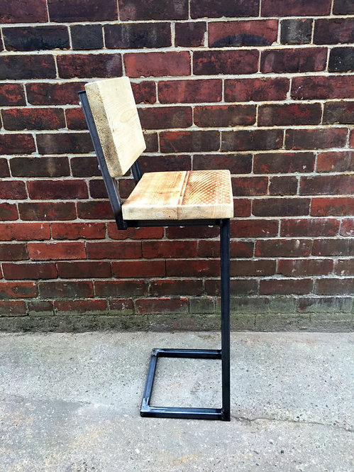 Reclaimed Industrial Chic Tall Bar Stool with Back 050