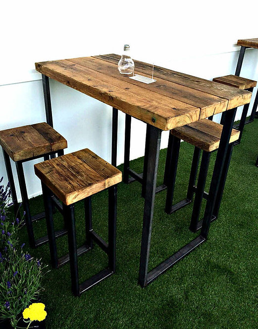 Reclaimed Industrial 4 Seater Chic Tall Poseur Table HCB Wood & Metal-578