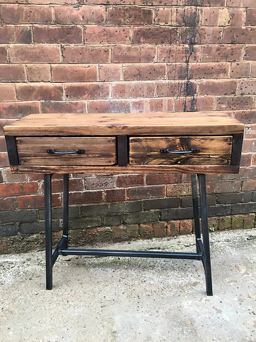 Industrial Chic Style Reclaimed Custom Hall Console Side Table with Drawer 004