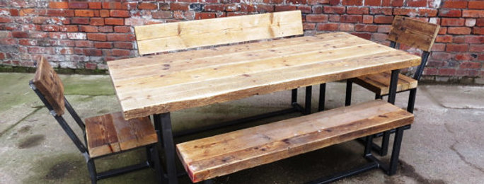 Reclaimed Industrial Chic 6-8 Seater Wood & Metal CB Table Benches & Chairs 304