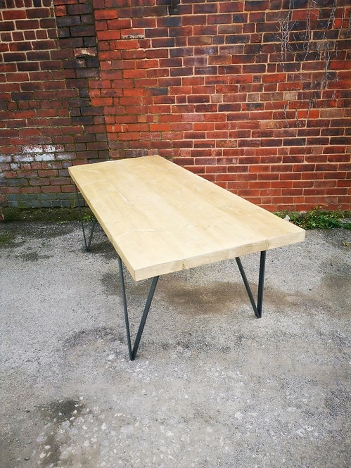 Reclaimed Industrial Chic Tripeg 6-8 Seater Solid Wood & steel Dining Table -655