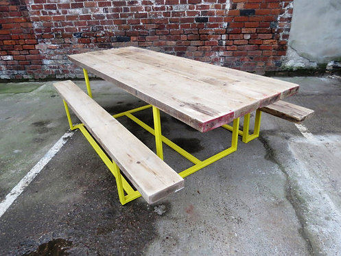 Reclaimed Industrial Chic 10-12 Seater Solid Wood & Metal Dining Table CB 324
